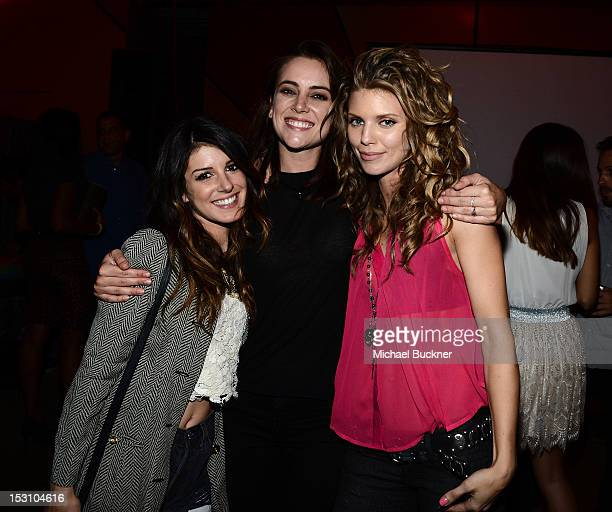 Actress Shenae Grimes actress Jessica Stroup and actress AnnaLynne McCord attend the 90210 100th Episode Celebration at Pink Taco Sunset Strip on...