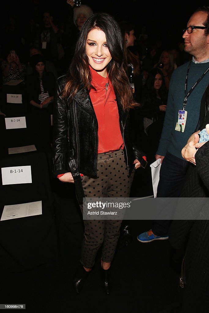 Actress Shenae Grimes attends the Rebecca Minkoff Fall 2013 fashion show with TRESemme during Mercedes-Benz Fashion Week at The Theatre at Lincoln Center on February 8, 2013 in New York City.