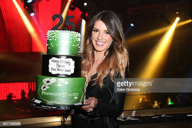 Actress Shenae GrimesBeech celebrates an early birthday with a cake during the launch of PerrierJouet Nuit Blanche Rose at Hakkasan Las Vegas...