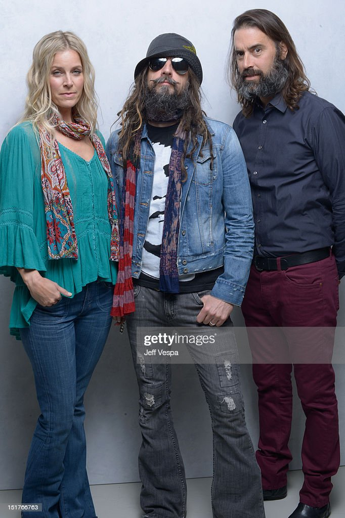 Actress Sheri Moon Zombie director Rob Zombie and Jeffrey Daniel Phillips of 'Lords Of Salem' pose at the Guess Portrait Studio during 2012 Toronto...