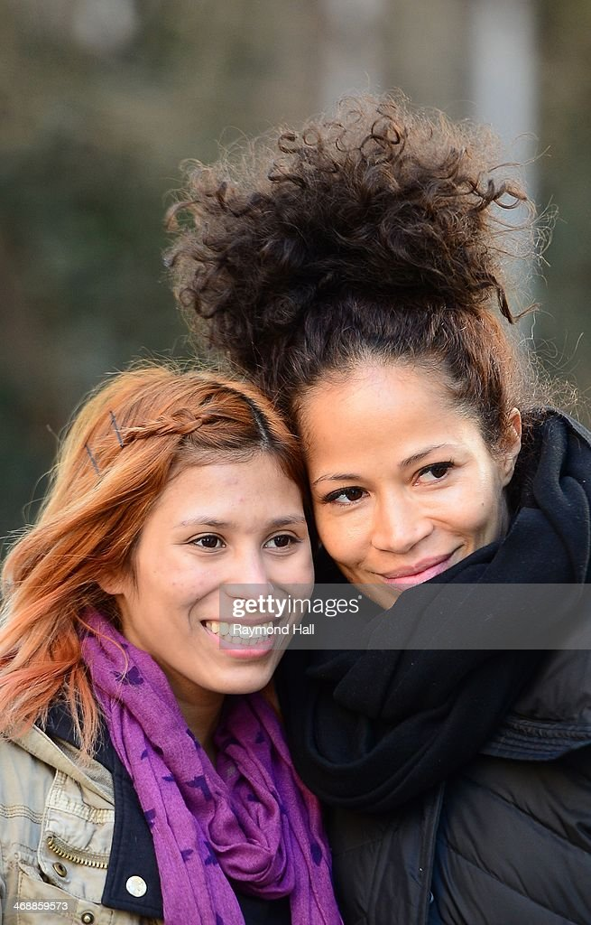 Actress Sherri Saum (R) is seen in Soho on February 11, 2014 in New York City.