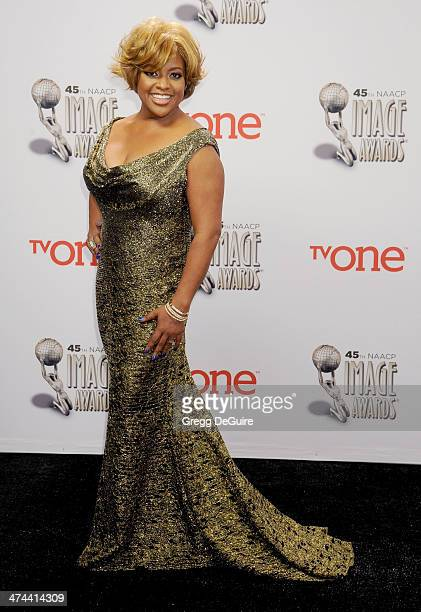 Actress Sherri Shepherd poses in the press room at the 45th NAACP Image Awards at Pasadena Civic Auditorium on February 22 2014 in Pasadena California