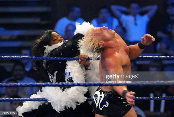 Actress Sherri Shepherd smacks WWE wrestler Dolph Ziggler during a match between Ziggler and MVP at WWE SmackDown at Madison Square Garden on April...