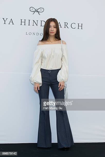 Actress Shin SeGyeong attends the photocall for ANYA HINDMARCH on September 1 2016 in Seoul South Korea