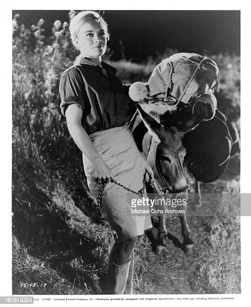 Actress Shirley Eaton on set of the Universal Pictures movie 'The Naked Brigade' in 1965