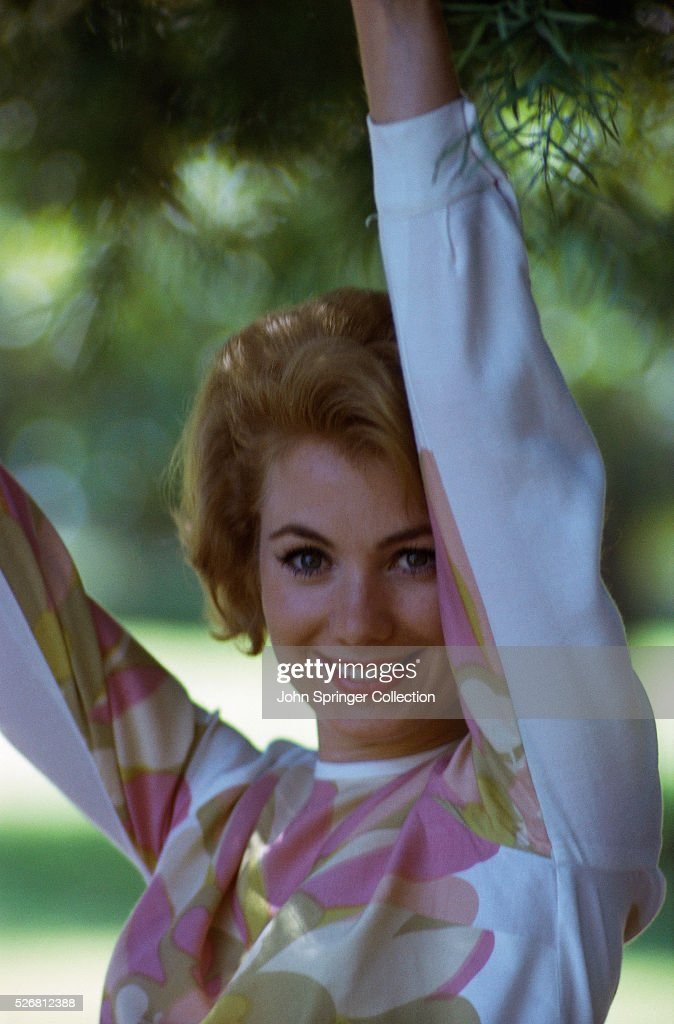 Actress Shirley Jones With Arms Raised