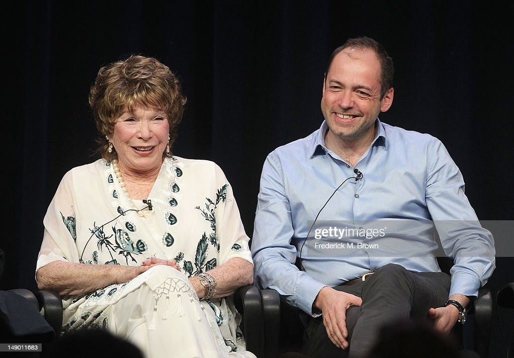 Actress Shirley MacLaine (L) and Executive Producer Gareth Neame speak onstage at the Masterpiece Classic 'Downton Abbey, Season 3' panel during day 1 of the PBS portion of the 2012 Summer TCA Tour held at the Beverly Hilton Hotel on July 21, 2012 in Beverly Hills, California.