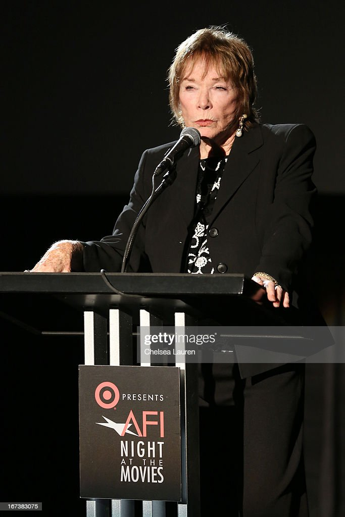 Actress <a gi-track='captionPersonalityLinkClicked' href=/galleries/search?phrase=Shirley+MacLaine&family=editorial&specificpeople=204788 ng-click='$event.stopPropagation()'>Shirley MacLaine</a> presenting 'Terms of Endearment' at Target Presents AFI's Night at the Movies at ArcLight Cinemas on April 24, 2013 in Hollywood, California.