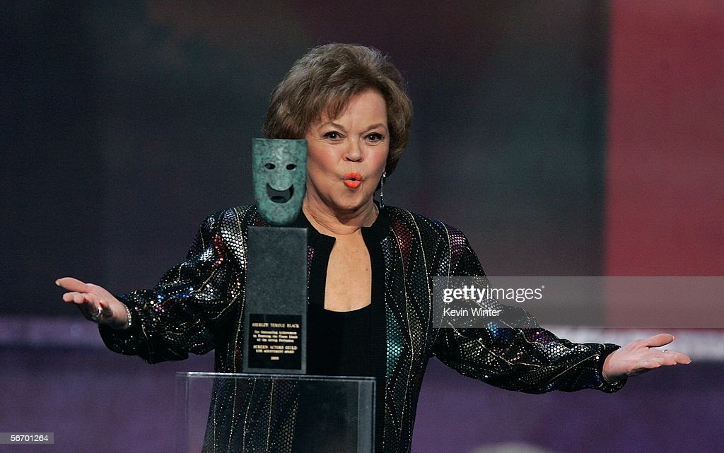 Actress <a gi-track='captionPersonalityLinkClicked' href=/galleries/search?phrase=Shirley+Temple&family=editorial&specificpeople=69996 ng-click='$event.stopPropagation()'>Shirley Temple</a> Black accepts the Life Achievement Award onstage during the 12th Annual Screen Actors Guild Awards held at the Shrine Auditorium on January 29, 2006 in Los Angeles, California.