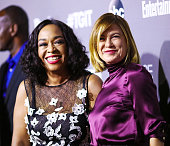 Actress Shonda Rhimes and actress Ellen Pompeo attend the celebration of ABC's TGIT Lineup held at Gracias Madre on September 26 2015 in West...