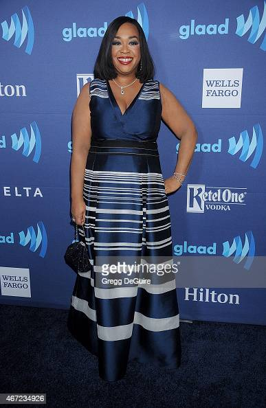 Actress Shonda Rhimes arrives at the 26th Annual GLAAD Media Awards at The Beverly Hilton Hotel on March 21 2015 in Beverly Hills California