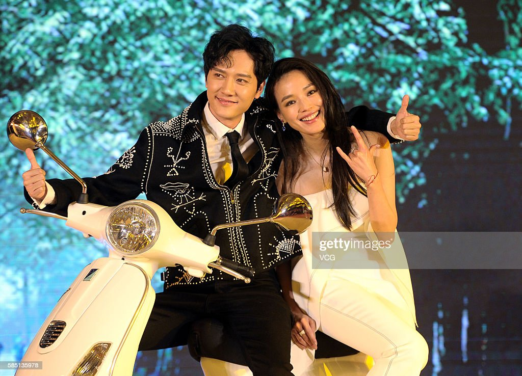 Actress Shu Qi and actor Feng Shaofeng attend the premiere of director Chen Feihong's film 'My Best Friend's Wedding' on August 2 2016 in Beijing...