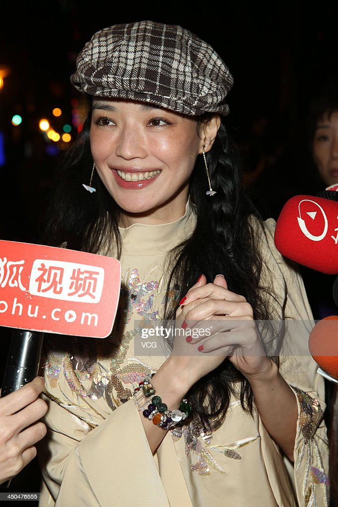 Actress <a gi-track='captionPersonalityLinkClicked' href=/galleries/search?phrase=Shu+Qi&family=editorial&specificpeople=215300 ng-click='$event.stopPropagation()'>Shu Qi</a> attends Chang Chen's wedding ceremony on November 18, 2013 in Taipei, Taiwan.