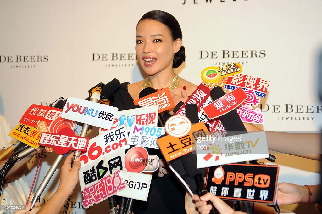 Actress Shu Qi attends De Beers Jewellery store opening ceremony at Shanghai IFC Mall on August 30 2012 in Shanghai China