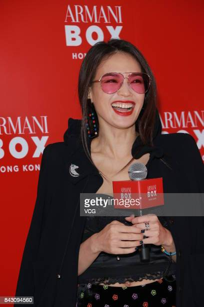 Actress Shu Qi attends the unveiling party of Armani Box Hong Kong exhibition on September 5 2017 in Hong Kong China