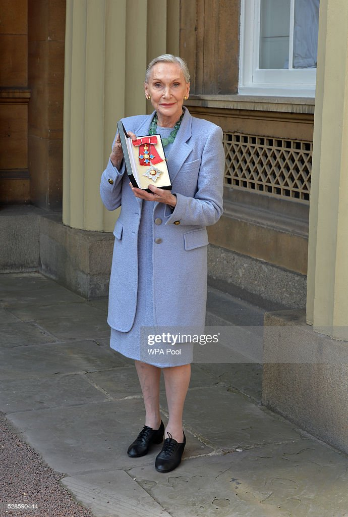 Actress <a gi-track='captionPersonalityLinkClicked' href=/galleries/search?phrase=Sian+Phillips&family=editorial&specificpeople=939765 ng-click='$event.stopPropagation()'>Sian Phillips</a> poses after she was made a Dame Commander of the British Empire by the Prince of Wales at an investiture ceremony at Buckingham Palace on April 5, 2016 in London, United Kingdom.
