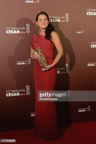 Actress Sidse Babett Knudsen poses with her award of Best actress in a supporting role for the movie 'L'Hermine' during The Cesar Film Awards 2016 at...