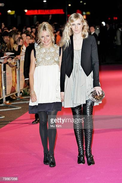 Actress Sienna Miller and her sister Savannah attend the UK premiere of the movie 'Factory Girl' held at the Vue West End on March 13th 2007 in...