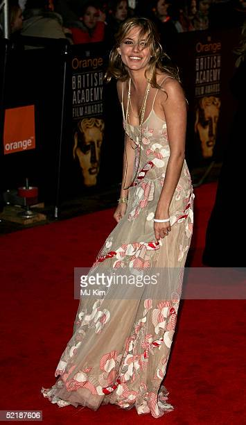 Actress Sienna Miller arrives at the Orange British Academy Film and Television Awards at the Odeon Leicester Square February 12 2005 in London