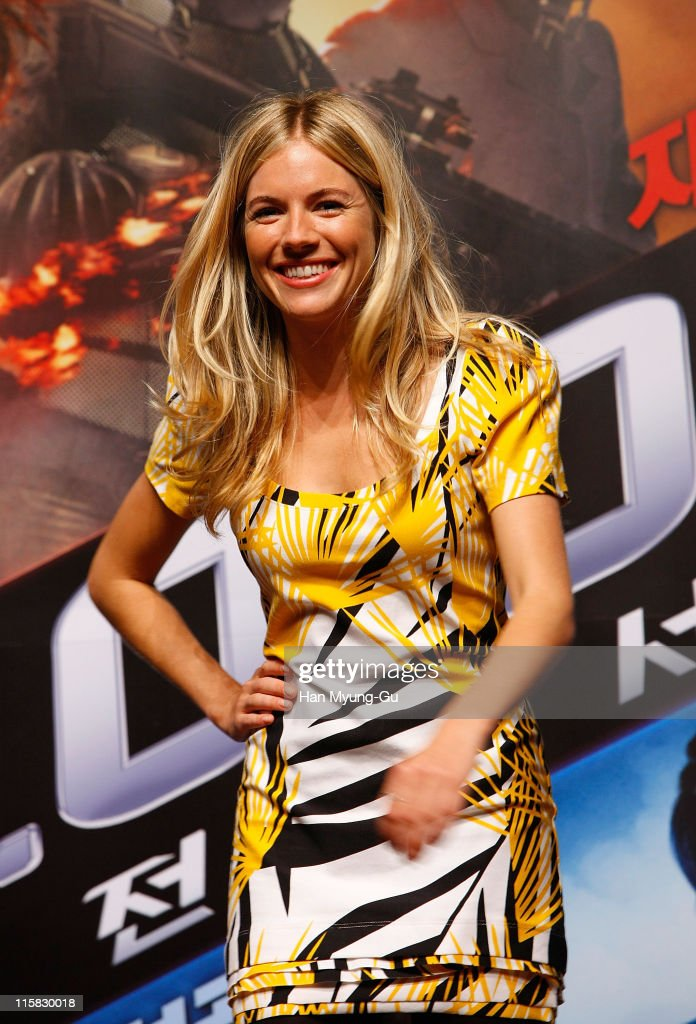 Actress Sienna Miller attend the 'G I Joe The Rise of Cobra' press conference at the Shilla Hotel on July 29 2009 in Seoul South Korea The film will...
