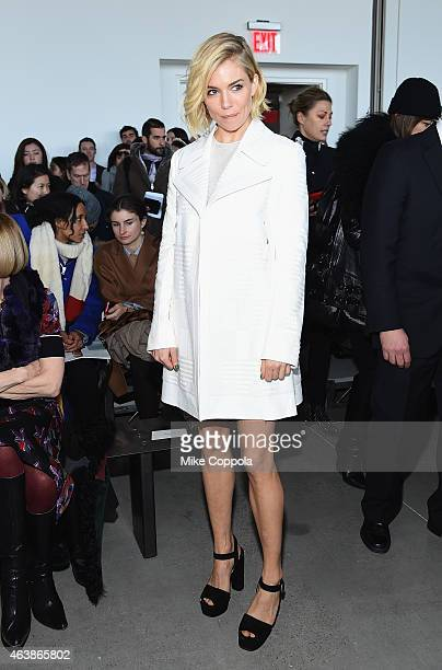 Actress Sienna Miller attends the Calvin Klein Collection fashion show during MercedesBenz Fashion Week Fall 2015 at Spring Studios on February 19...