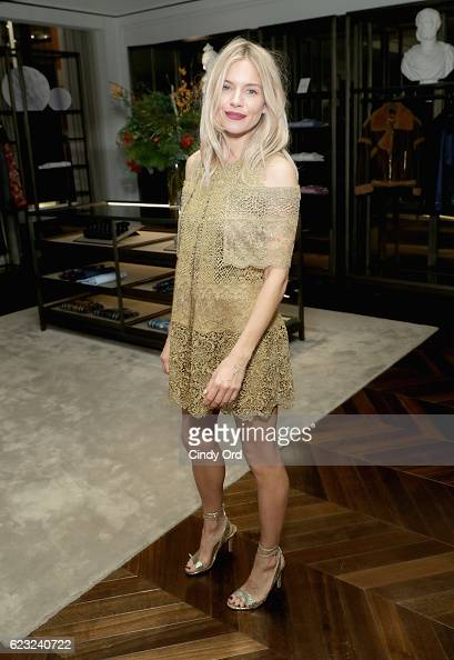 Actress Sienna Miller attends the celebration of 'The Tale of Thomas Burberry' with Sienna Miller and Dominic West at Burberry Soho on November 14...