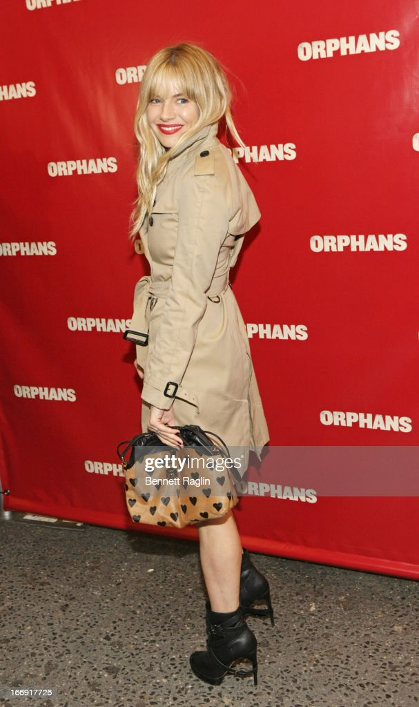 Actress <a gi-track='captionPersonalityLinkClicked' href=/galleries/search?phrase=Sienna+Miller&family=editorial&specificpeople=171883 ng-click='$event.stopPropagation()'>Sienna Miller</a> attends the 'Orphans' Broadway Opening Night at the Gerald Schoenfeld Theatre on April 18, 2013 in New York City.