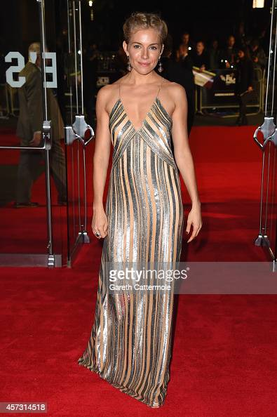 Actress Sienna Miller attends the VIP arrivals of the Amex Gala premiere for 'Foxcatcher' during the 58th BFI London Film Festival at Odeon Leicester...