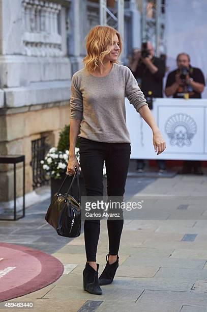 Actress Sienna Miller is seen arriving at the Maria Cristina Hotel during the 63rd San Sebastian International Film Festival on September 21 2015 in...