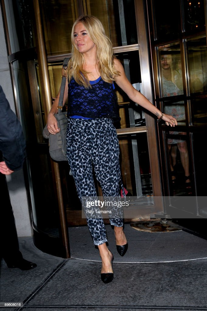 Actress Sienna Miller leaves her Grammercy Park hotel on August 04, 2009 in New York City.