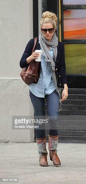 Actress Sienna Miller walks in SOHO November 25 2009 in New York City