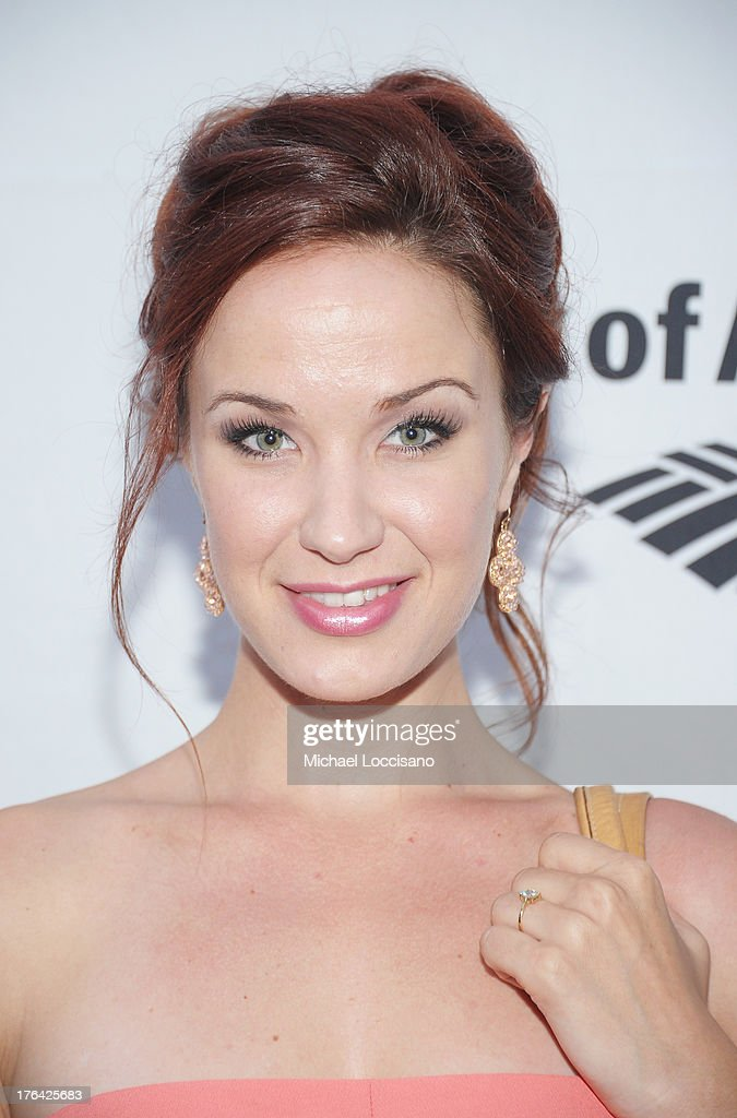 Actress <a gi-track='captionPersonalityLinkClicked' href=/galleries/search?phrase=Sierra+Boggess&family=editorial&specificpeople=539375 ng-click='$event.stopPropagation()'>Sierra Boggess</a> attends The Public Theater's 'Love's Labour's Lost' Opening Nght at Delacorte Theater on August 12, 2013 in New York City.