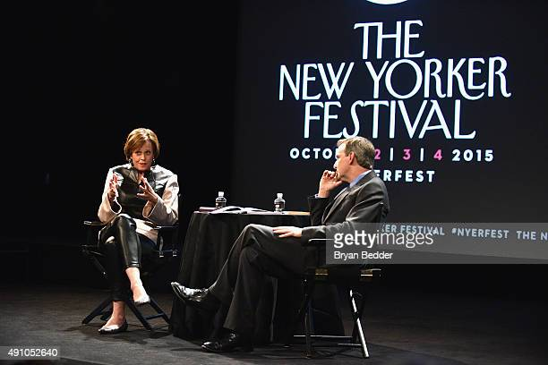 Actress Sigorney Weaver and Anthony Lane speak onstage at Sigorney Weaver Talks With Anthony Lane during The New Yorker Festival 2015 at SVA Theater...