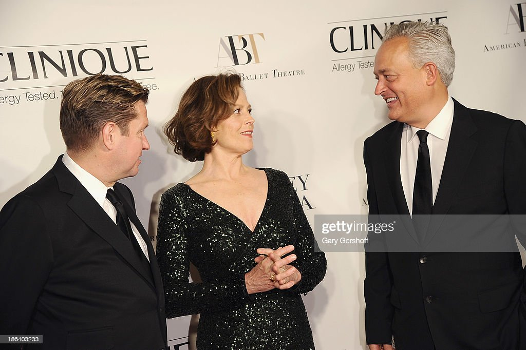 Actress Sigourney Weaver (C) and designers James Mischka (L) and Mark Badgley attend American Ballet Theatre 2013 Opening Night Fall Gala at David Koch Theatre at Lincoln Center on October 30, 2013 in New York City.