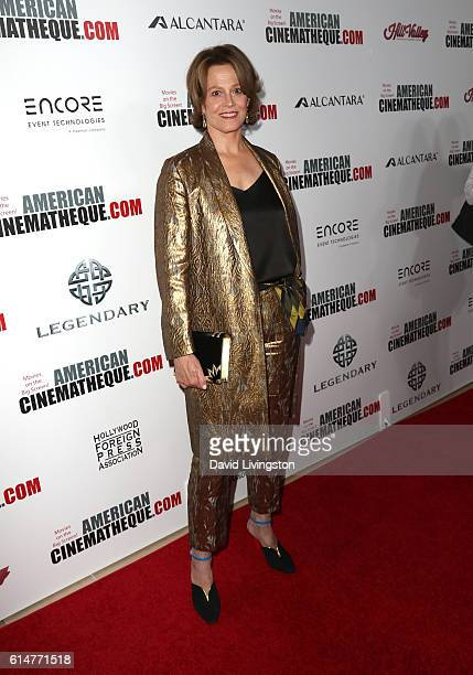 Actress Sigourney Weaver arrives at the 30th Annual American Cinematheque Awards Gala at The Beverly Hilton Hotel on October 14 2016 in Beverly Hills...