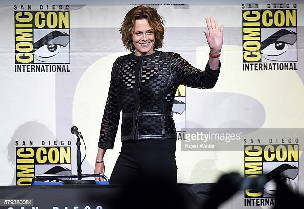 Actress Sigourney Weaver attends the 'Aliens 30th Anniversary' panel during ComicCon International 2016 at San Diego Convention Center on July 23...