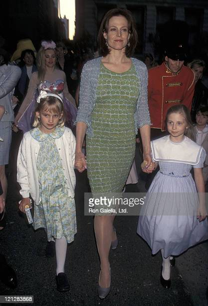 Actress Sigourney Weaver daughter Charlotte Simpson and friend attend the Associates Committee of The Society of Memorial SloanKettering Cancer...