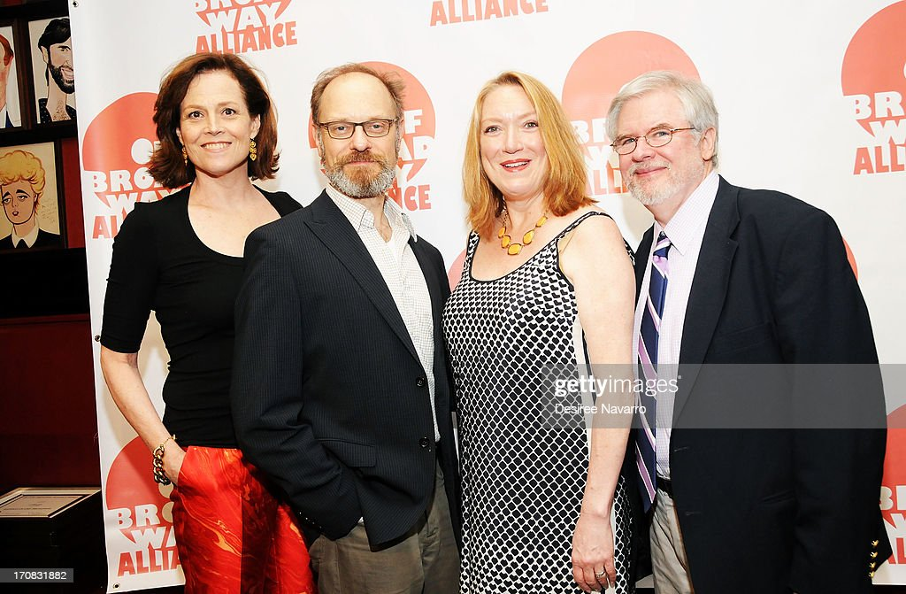 Actress Sigourney Weaver David Hyde Pierce Kristine Nielsen and Christopher Durang attend The 3rd Annual Off Broadway Alliance Awards Reception at...
