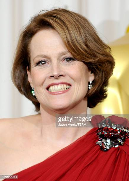Actress Sigourney Weaver poses in the press room at the 82nd Annual Academy Awards held at Kodak Theatre on March 7 2010 in Hollywood California
