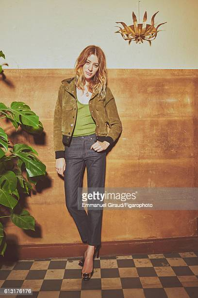 Actress Sigrid Bouaziz is photographed for Madame Figaro on June 16 2016 in Paris France Jacket tank top jeans necklace personal shoes PUBLISHED...