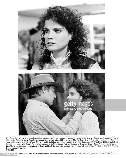 Actress Sigrid Thornton on set Actor Tom Burlinson and actress Sigrid Thornton on the set of the movie 'Return to Snowy River' in 1988