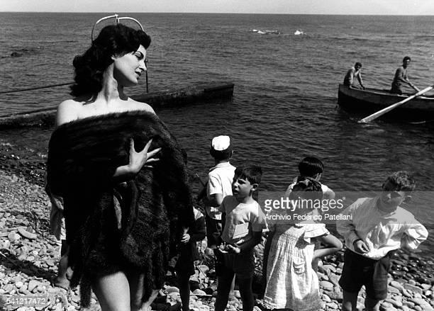 Actress Silvana Pampanini on the Beach