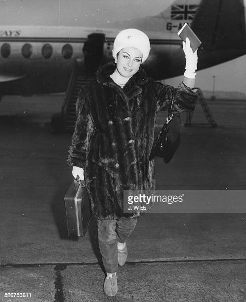 Actress Silvana Pampanini wearing a fur coat and hat as she arrives at London Airport February 9th 1960