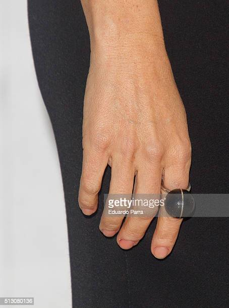 Actress Silvia Abril ring detail attends 'Vulcania' photocall at Princesa cinema on February 29 2016 in Madrid Spain