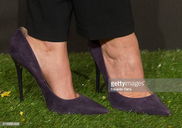 Actress Silvia Abril shoes detail attends 'El pregon' premiere at Capitol cinema on March 16 2016 in Madrid Spain