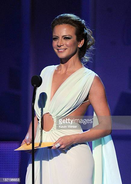 Actress Silvia Navarro presents an award onstage during the 12th annual Latin GRAMMY Awards at the Mandalay Bay Events Center on November 10 2011 in...
