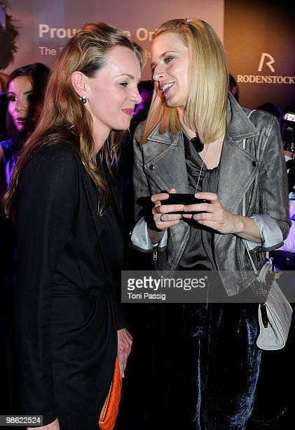 Actress Simone Hanselmann and model Eva Padberg attends the 'New Faces Award 2010' at Cafe Moskau on April 22 2010 in Berlin Germany