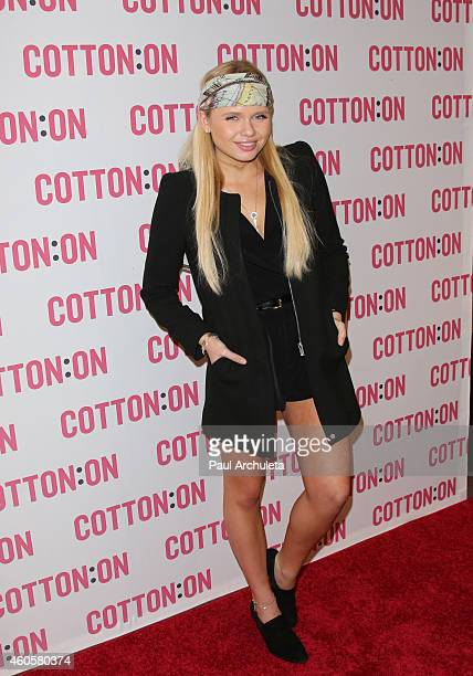 Actress / Singer Alli Simpson joins Australian brand Cotton On for their holiday charity campaign 'I Give A Brick' at Cotton on USA on December 16...