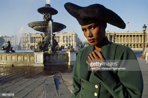 Actress singer and modelGrace Jones in Paris at the Place de la Concorde and rue Royale at a shoot for Madame Figaro Magazine in 1985 PUBLISHED IMAGE...