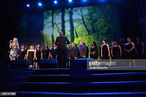 Actress singer Caissie Levy performs onstage at the Trevor Project's 2014 'TrevorLIVE NY' Event at the Marriott Marquis Hotel on June 16 2014 in New...